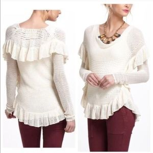 Angel of the North Ruffled Crochet Pullover Small